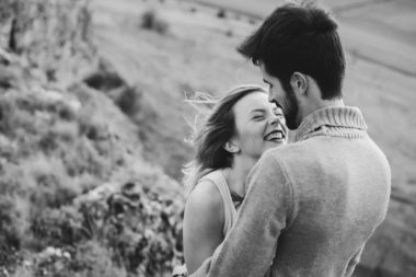 Passionate young couple in mountains